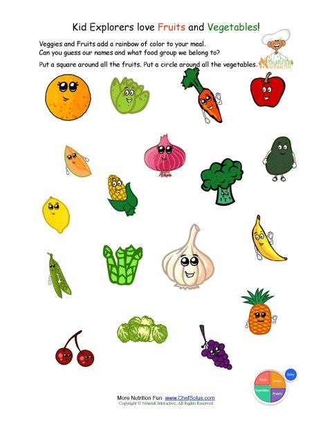 Fruit and Vegetable Worksheet