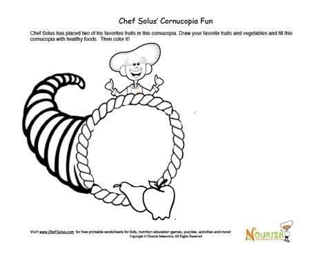 Printable Thanksgiving Cornucopia Drawing Activity