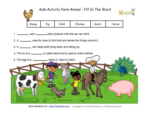 Kids Activity Farm Animal Worksheet Fill In The Word